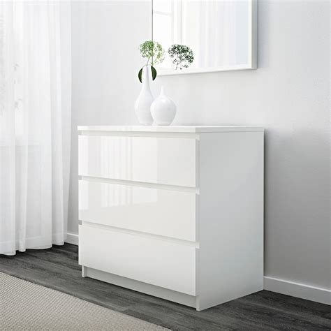 MALM Chest of 3 drawers   white high gloss white   IKEA