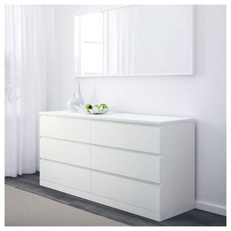 MALM chest of 6 drawers white 160x78 cm | IKEA Bedroom