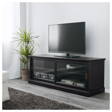 MALSJÖ   TV bench with sliding doors, black stained | IKEA ...