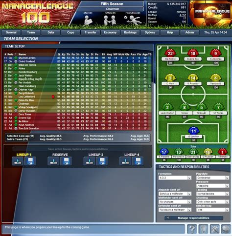ManagerLeague : Online football manager : MANAGERLEAGUE ...