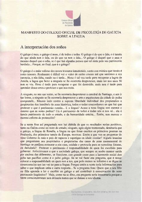 Manifesto do colexio oficial de psicólogos