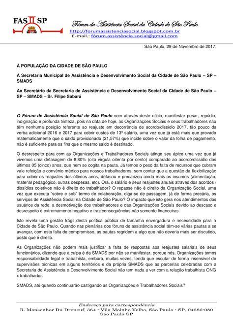 MANIFESTO FAS SP À SECRETARIA MUNICIPAL DE ASSISTÊNCIA E ...