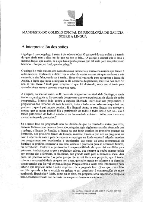 Manifesto Sobre A Lingua Colexio Oficial De PsicoloxíA De ...