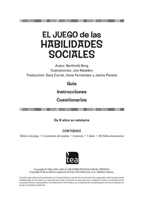 Manual descargable del  Juego de las habilidades sociales ...