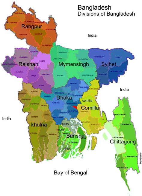 Map of Bangladesh   Divisions and Districts Maps