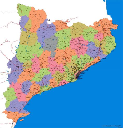 Map of catalonia  spain  with municipalities and major roads