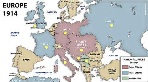 Map of Europe in 1914 before the war had started | Europe ...