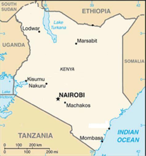 Map of Kenya showing the positions of Nairobi, Kisumu and ...