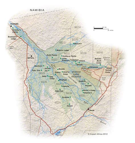 Map of Moremi Game Reserve | Botswana |  c  Expert Africa