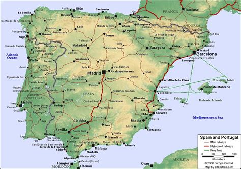Map of Spain and Portugal | For use in locating the cities ...