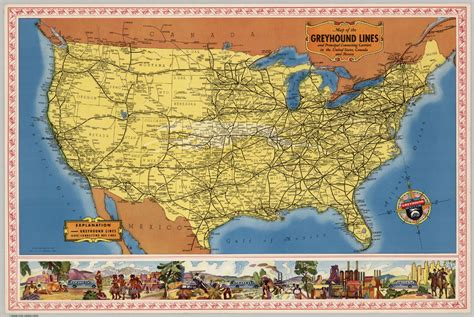Map of the Greyhound Lines in the United States | Old Maps ...