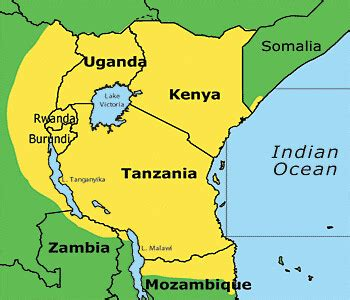Map of the Swahili Language | Taken from here, this is a ...