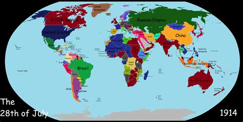 Map of the world on the day World War 1 broke out. [OC ...
