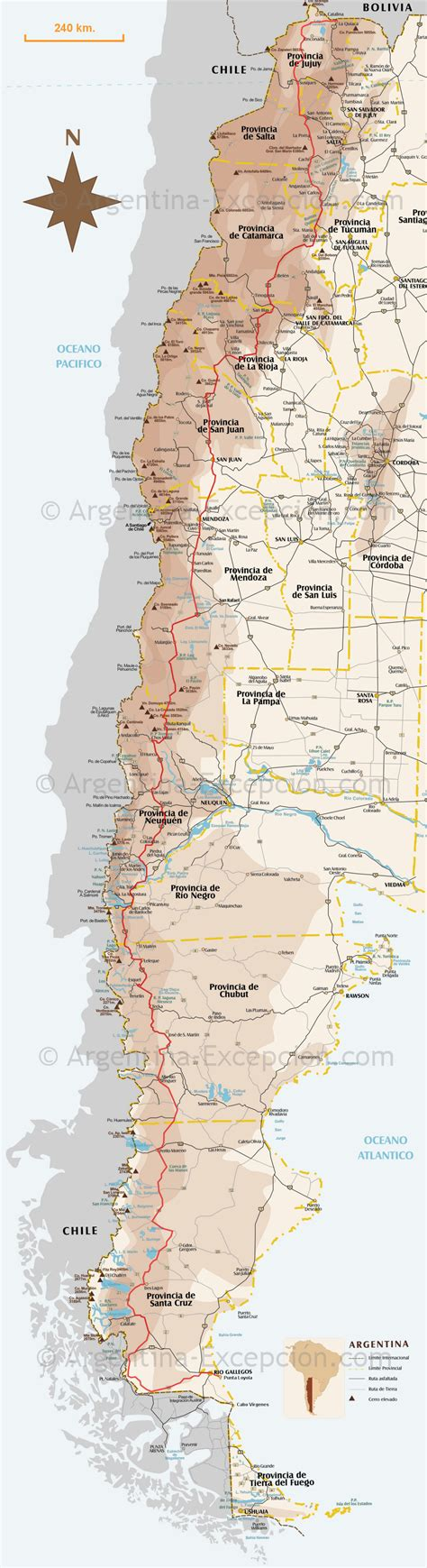Map Route 40, Argentina