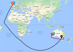 Map showing the distances travelled by the Bridges Family ...