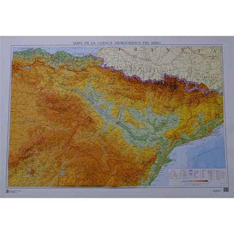 Mapa cuenca hidrográfica del Ebro relieve 1:500.000