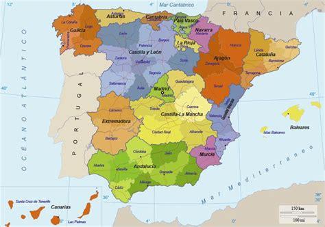 Mapa de España: Provincias y comunidades, así como su ...