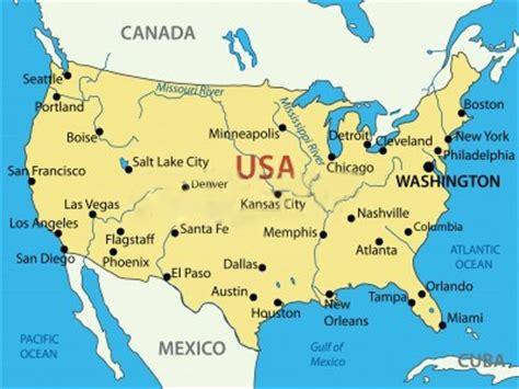 Mapa de Estados Unidos con nombres de ciudades importantes ...