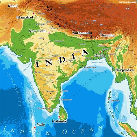 Mapa de la India   Político & Físico Grande Para Imprimir ...