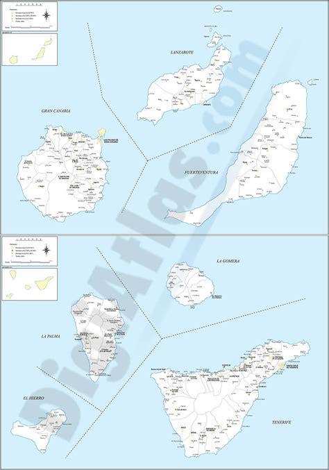 Mapa de las islas canarias con municipios y poblaciones