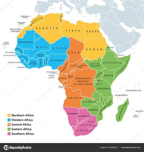 Mapa de las regiones de África con países individuales ...