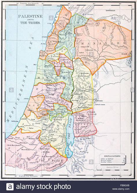 Mapa de Palestina bajo las tribus   Antiguo Testamento ...