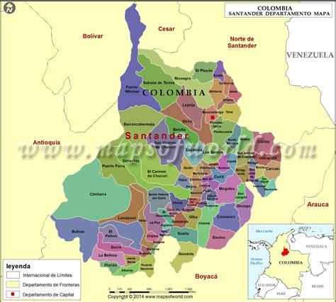 Mapa de Santander Colombia , Departamento de Santander
