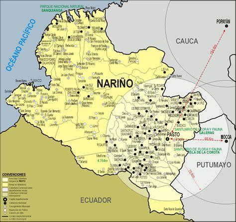 MAPA DEL DEPARTAMENTO DE NARIÑO, COLOMBIA, Y SUS CIUDADES ...