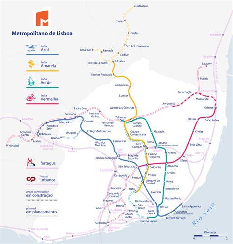 Mapa del metro de Lisboa, Portugal