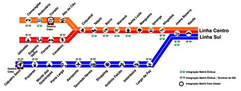 Mapa del metro de Recife, Brasil
