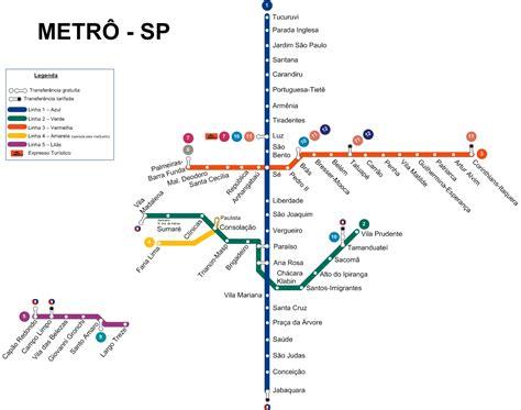 Mapa del metro de Sao Paulo, Brasil