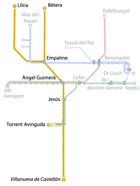 Mapa del metro de Valencia, España