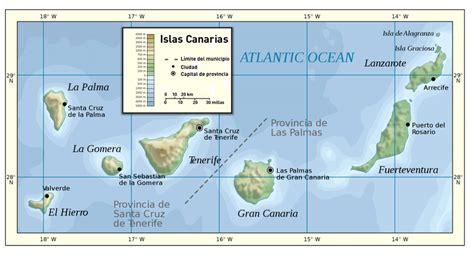 Mapa físico de las islas Canarias. Physical map of the ...
