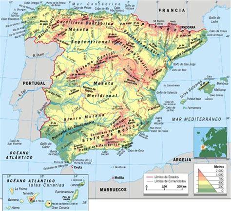 Mapa geografía escolar – mapa físico de España