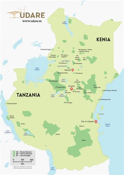 Mapa Kenia y Tanzania