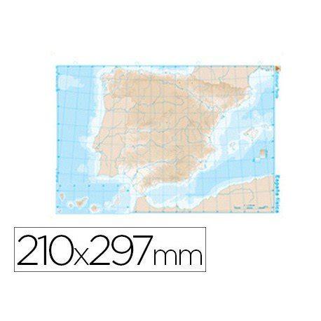 Mapa mudo de España fisico blanco y negro  22165