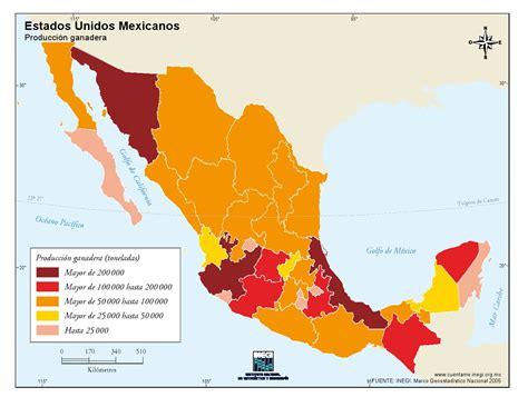Mapa para imprimir de México Mapa de producción ganadera ...