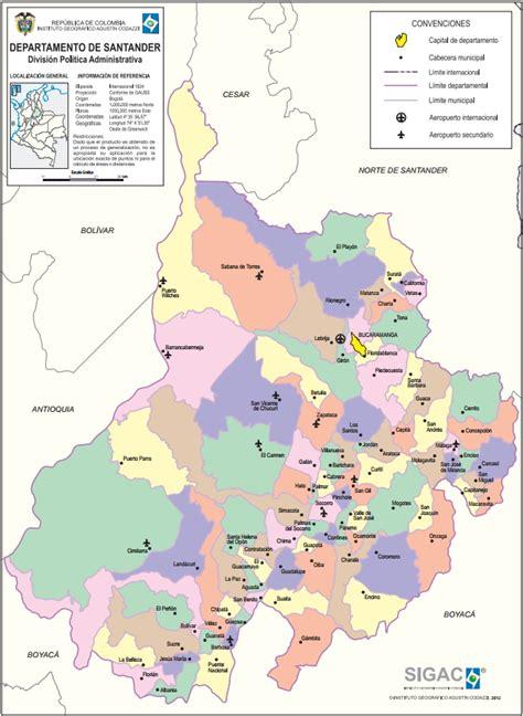 Mapa para imprimir de Santander Mapa político de Santander ...