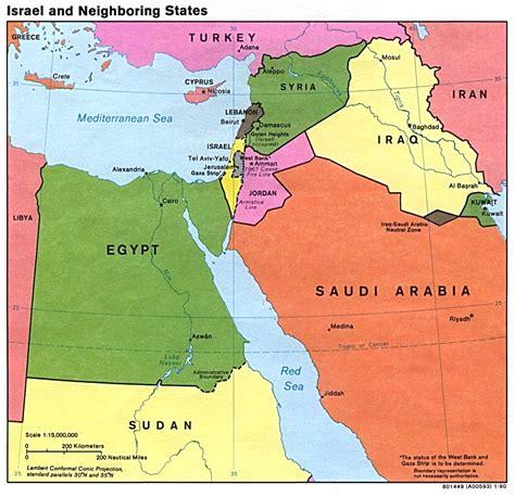 Mapa Politico de Israel y de los Estados Vecinos   mapa ...