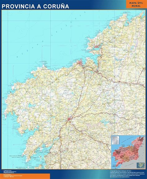 Mapa Provincia A Coruna   Tienda Mapas Posters Pared