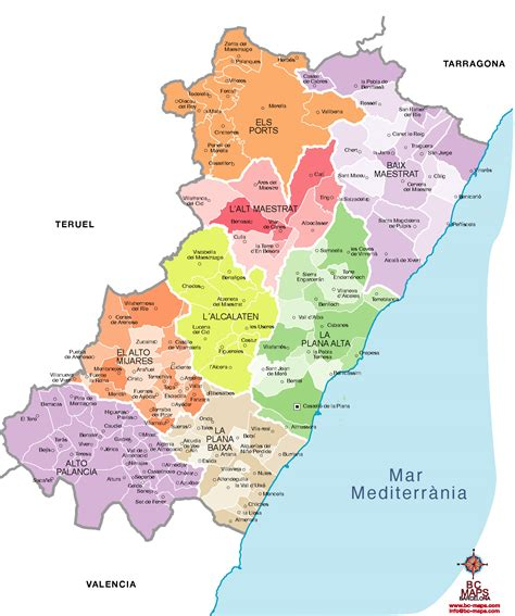 Mapa Provincia Barcelona Municipios