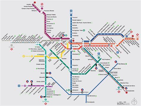 Mapa y plano de metro de São Paulo : estaciones y lineas
