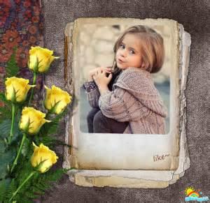 Marco para fotos con rosas amarillas « Editar Fotos Online
