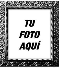 Marco para fotos digitales negro plateado con textura de ...