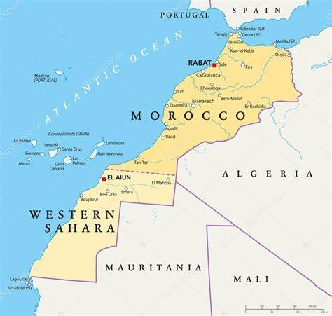 Marruecos y el Sáhara Occidental mapa — Vector de stock ...