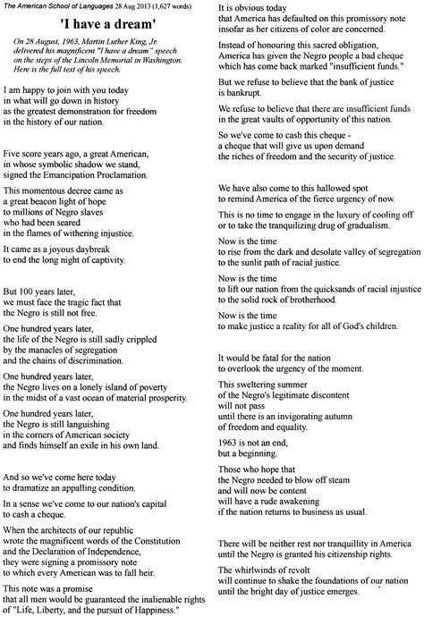 Martin luther king jr i had a dream speech lyrics ...