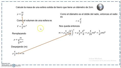 Masa de una esfera en función del diámetro   YouTube