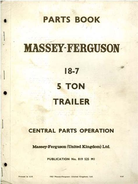 Massey Ferguson 18 7 5 Ton Trailer Parts Manual