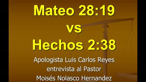 Mateo 28:19 vs. Hechos 2:38   YouTube