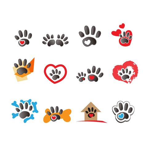 Material de diseño vectorial Huellas animales logo ...